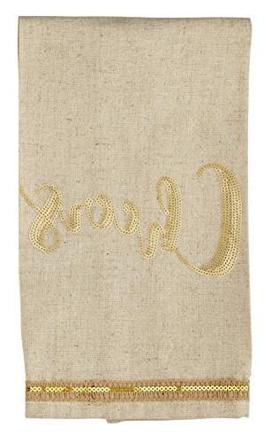 oatmeal linen cheers hand towel