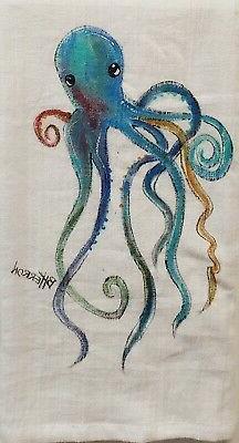 Octopus Hand Painted Kitchen Towel by Brandy Herron