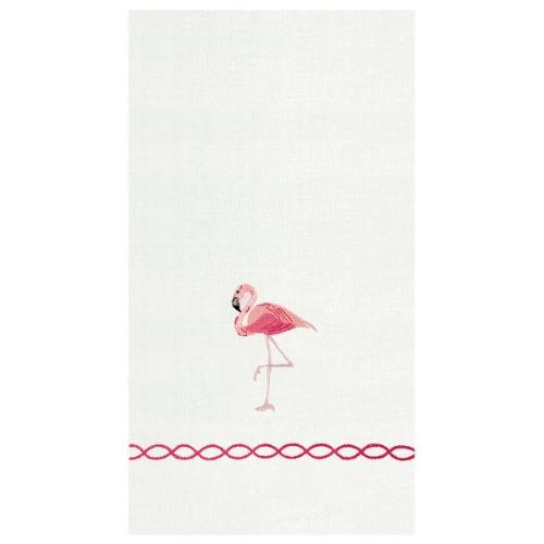 pink flamingo white hand towels