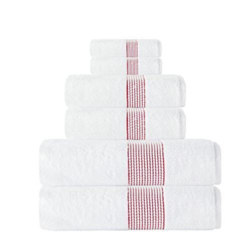 red stripe textured towel set