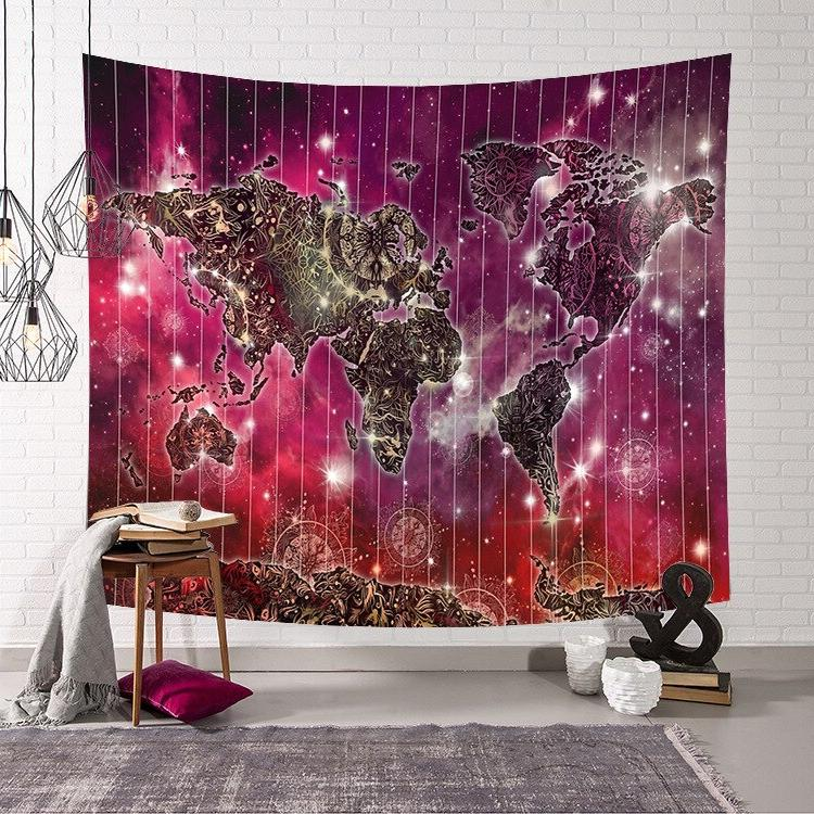 Retro World Wall Hanging Sleeping Wall Tapestry <font><b>towel</b></font> beach Decor tapestry