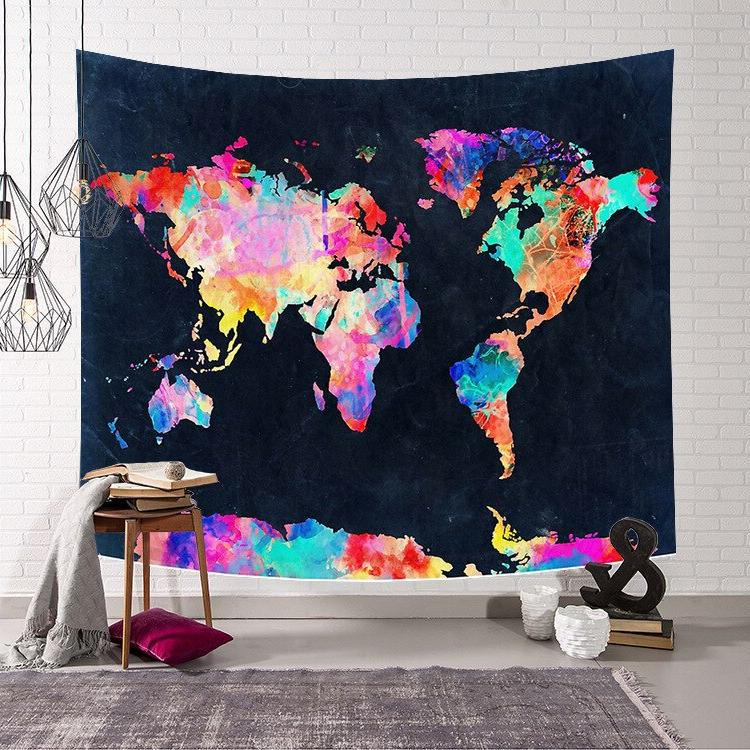 Retro World Map Hanging tapestry Wall Art <font><b>towel</b></font> beach Blanket Decor tapestry