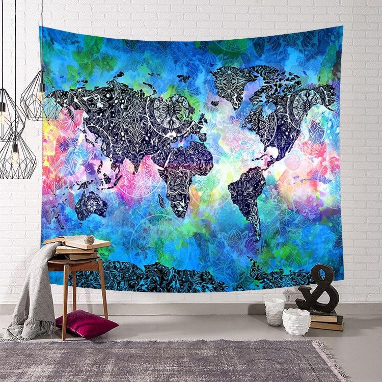 Retro World Hanging tapestry Sleeping <font><b>towel</b></font> beach Blanket aubusson Decor