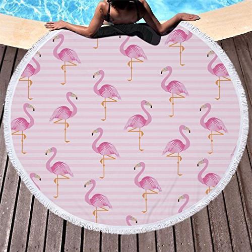 round beach towels microfiber flamingos