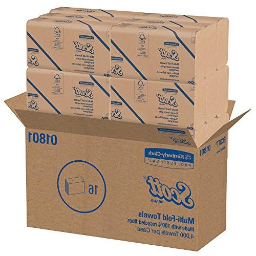 Scott 01801 Multi-Fold 100% Recycled, 9 1/5x9 2/5, Natural, Pack