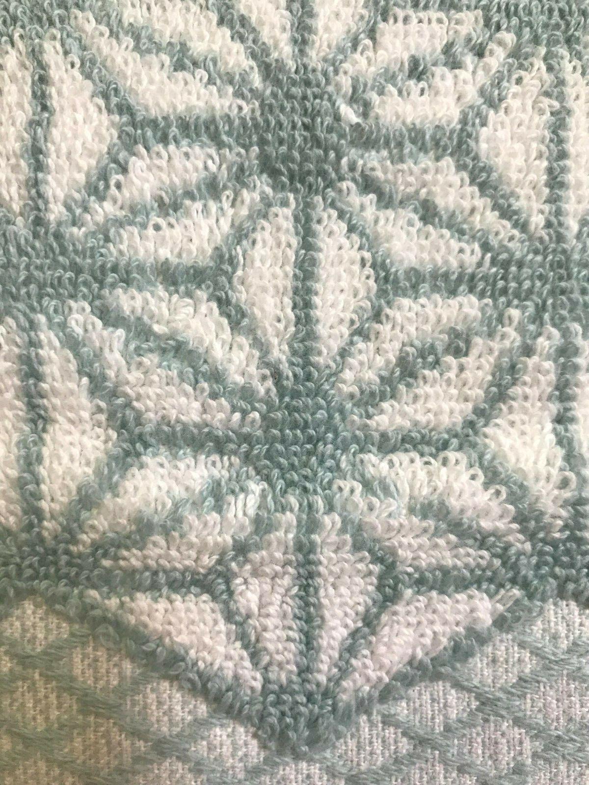 Set 2 Home Cotton Towels - Blue White Geometric Pattern