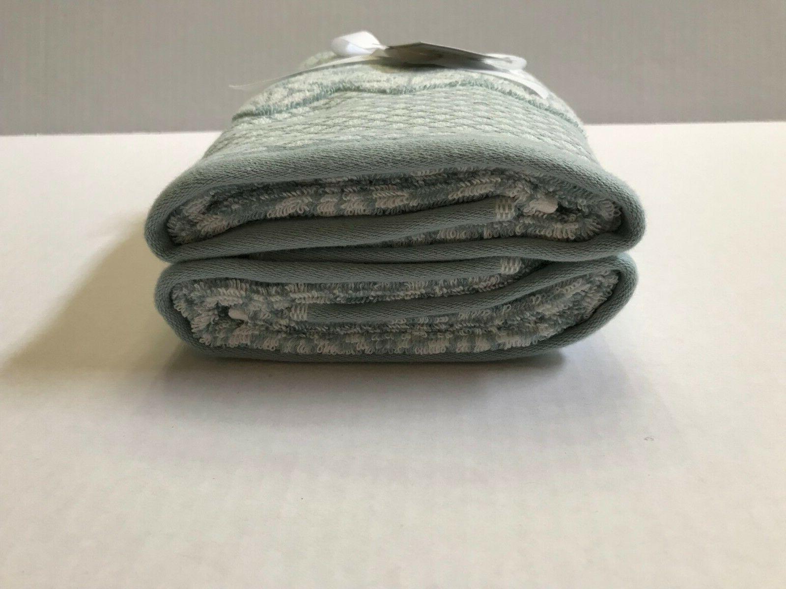 Set Towels Blue & White Geometric Pattern NEW