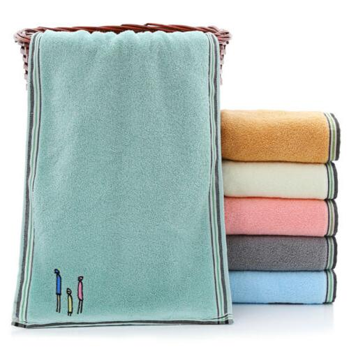 2Pcs Cotton Towels Embroidery Soft Travel Beach Gym Thick Sheet 14x29""