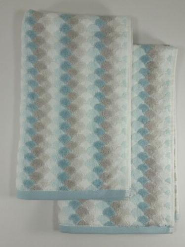 Set of 2 Caro Home Hand Towels - Shell Scale Pattern - Aqua
