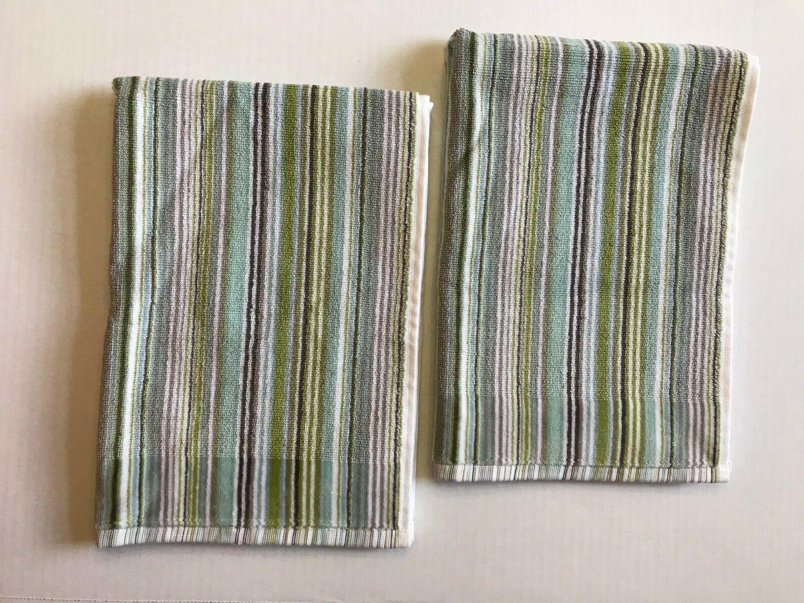 Set of 2 DKNY Houston Stripe Hand Towels - Dusty Charcoal -