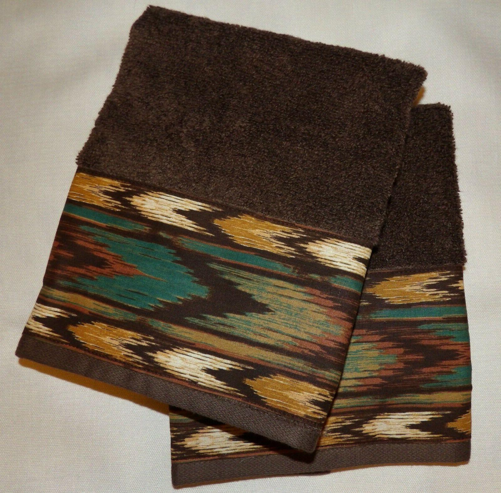 SOUTHWEST/WESTERN/CABIN HAND TOWELS, SET BROWN,AZTEC