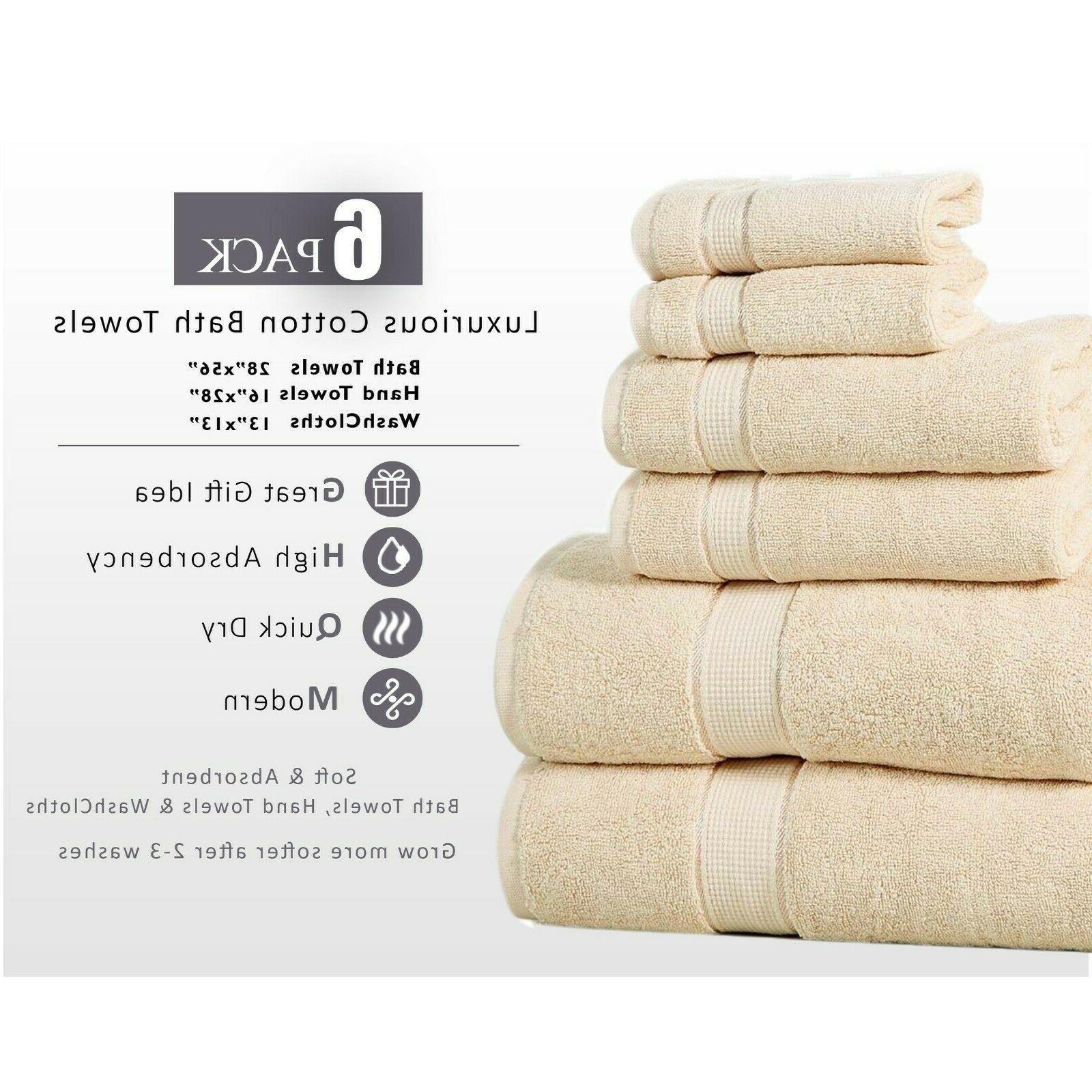 Towel Set 6 Piece Set Cotton 600 GSM- 2 Bath Towel 2 Hand To