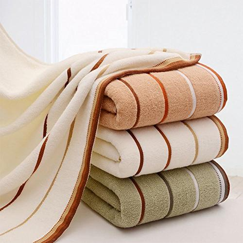 Premium Towel Cotton Striped Bath Hand Towels Bathroom Decor, 3