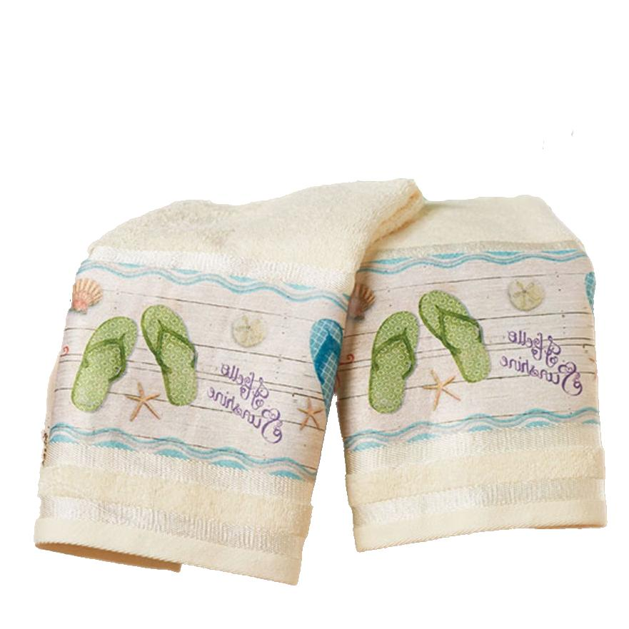 tropical hand towels set beach themed seashells