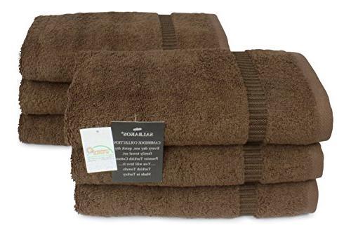 SALBAKOS Spa Turkish Cotton 6-Piece Eco-Friendly Hand Set 16 Chocolate