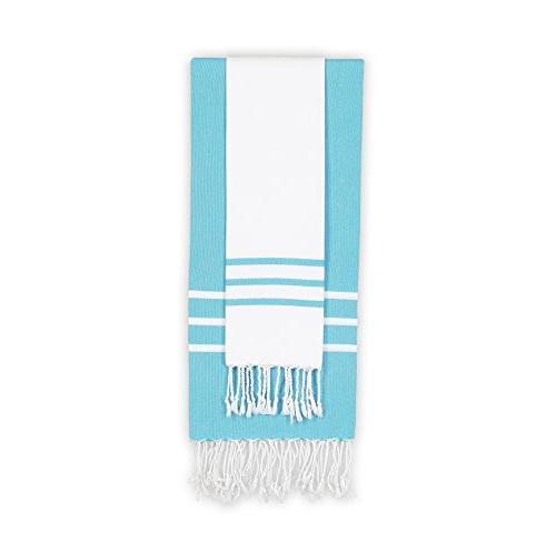 turquoise stripe towel set