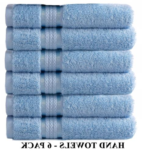Cotton Craft Ultra Soft 6 Pack Hand Towels 16x28 Light Blue