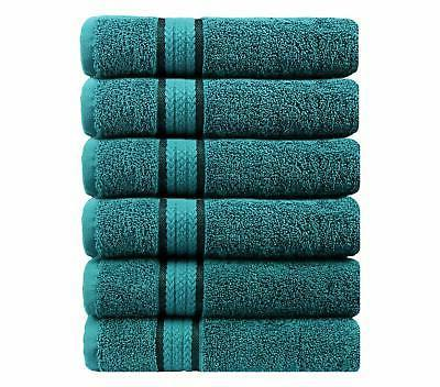 Cotton 6 Towels 16x28 Teal Weighs Ounces Each - Pure Cotton Luxurious Rayon Ideal for Everyday use - Easy Care wash