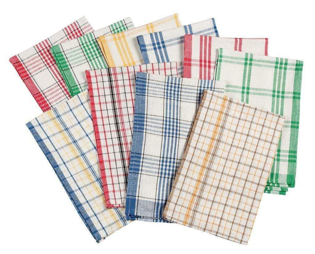 Walterdrake Plaid Kitchen Towels 100% Cotton Dish Hand Strip