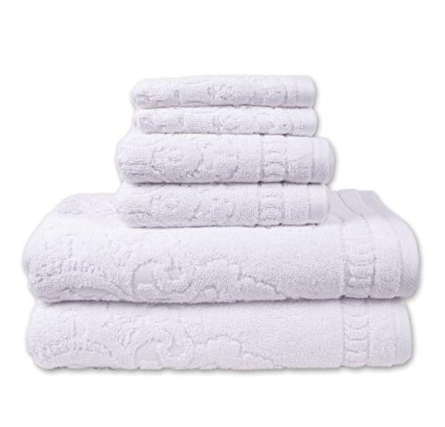 white sculpted jacquard towel set