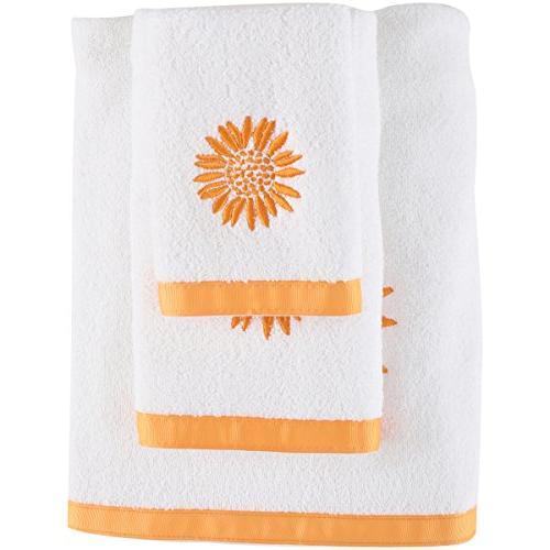 white yellow sunflower towel set
