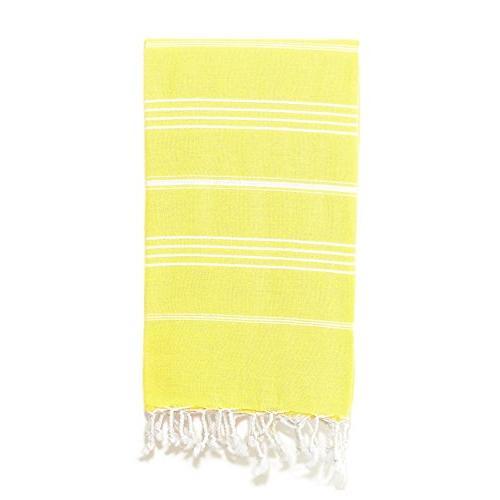 yellow white stripe beach towel