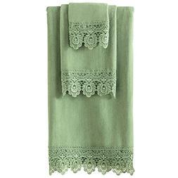 Collections Etc Lace Trim Bath Towel Set, Sage