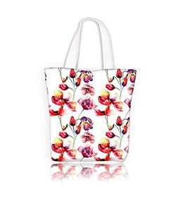Ladies canvas tote bag Seamless paper with flowers watercolo