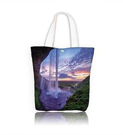 Ladies canvas tote bag Seljalandfoss waterfall at sun Icelan