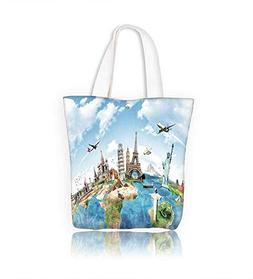 Ladies canvas tote bag Travel the world monument concept reu