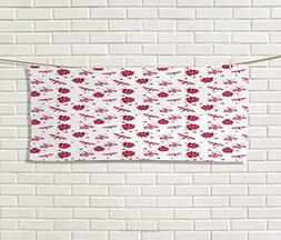 Anniutwo Ladybugs,Hand Towel,Domed Back Round Ladybugs Heart