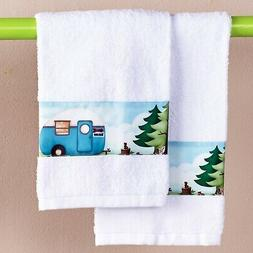 The Lakeside Collection Set of 2 Retro Camping Hand Towels
