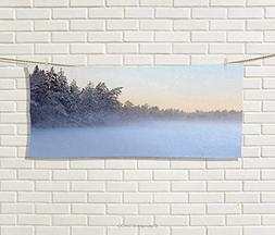 Anniutwo Landscape,Hand Towel,The Frozen Winter Lake River i