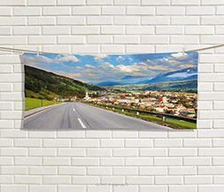 Anniutwo Landscape,Hand Towel,Road in The Alps Small Town Co