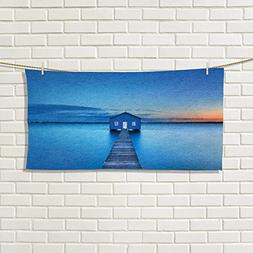 Landscape gym hand towels Sunrise Over Water Lakehouse Cabin