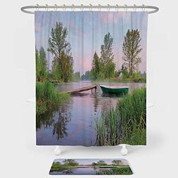 iPrint Landscape Shower Curtain Floor Mat Combination Set Ru
