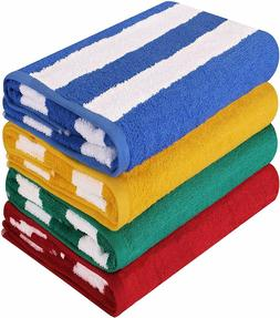 Large Beach Towel Pool Solid Cabana Stripe 4 Piece 30x60 Inc