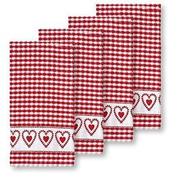 Laurel Hearts Check Terrycloth Kitchen Towels, Set of 4  Red