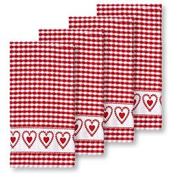 Laurel Hearts Check Terrycloth Kitchen Towels, Set of 4