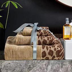 USTIDE 3-Piece Leopard Print Bath Towels Set Solid Cotton Ha