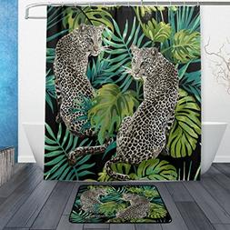 Naanle Leopard with Tropical Palm Tree Waterproof Polyester