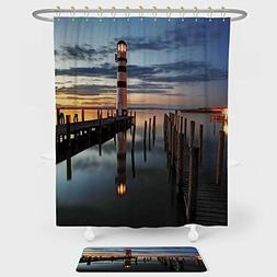 iPrint Lighthouse Decor Shower Curtain Floor Mat Combination