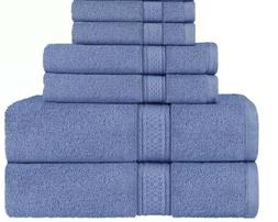 LINEN 6 Piece Towels Set 2 BATH TOWEL, 2 HAND TOWEL AND 2 WA