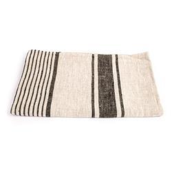 LinenMe Provence Bath Towel, 26''X 51'', Black Natural Strip