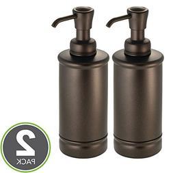 mDesign Round Metal Refillable Liquid Hand Soap Dispenser Pu