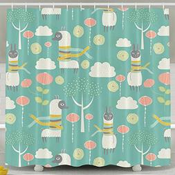 Llama Drama Shower Curtain Fabric Bathroom Shower Curtain Se