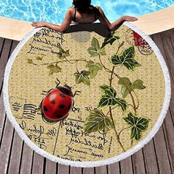 Melory London/Eiffel Tower Round Beach Towel Blanket with Ta