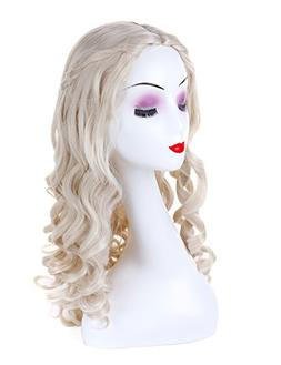 Morvally Long Hand Curly Synthetic Blonde Hair for Cosplay C