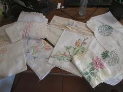 Lot 0f 12 Vintage Embroidered Linens hand towels table runne