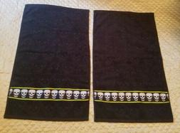 Lot 2 Betsey Johnson Black  Crazy Skulls Hand Towels with Tr